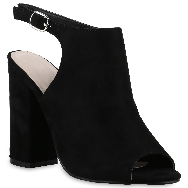 Highheels für Frauen - Damen Sandaletten High Heels Schwarz  - Onlineshop Stiefelparadies