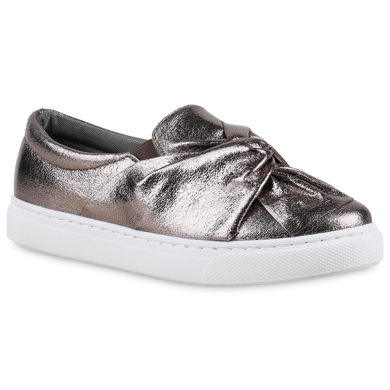 Damen Sneaker Slip Ons - Grau Metallic