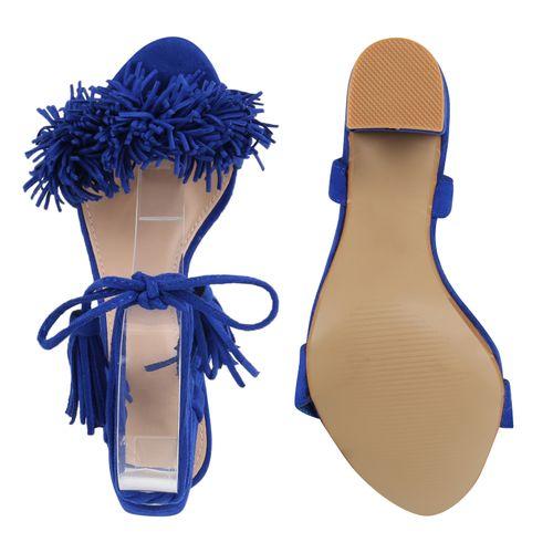 Damen Sandaletten Riemchensandaletten - Blau