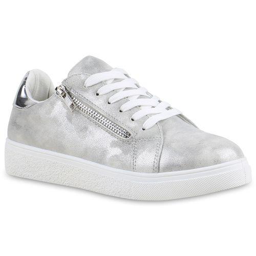 Damen Damen Silber Low Silber Low Sneaker Sneaker Damen Low Sneaker Txwf7