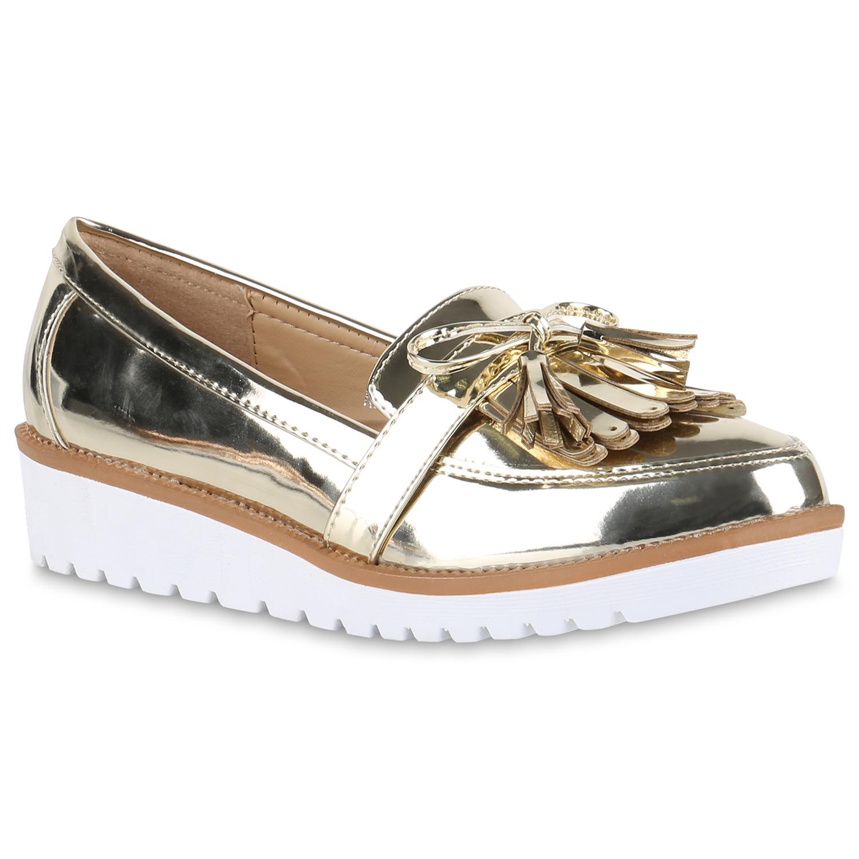 Slipper - Damen Slippers Loafers Gold › stiefelparadies.de  - Onlineshop Stiefelparadies