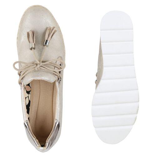 Damen Slippers Plateauschuhe - Gold