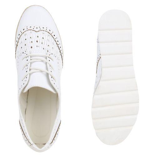 Damen Halbschuhe Plateauschuhe - Weiß