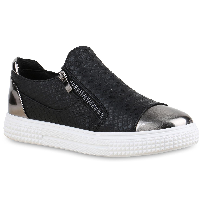 Damen Sneakers Metallic Cap Sportschuhe Zipper Mini-Keilabsatz 815352 Top