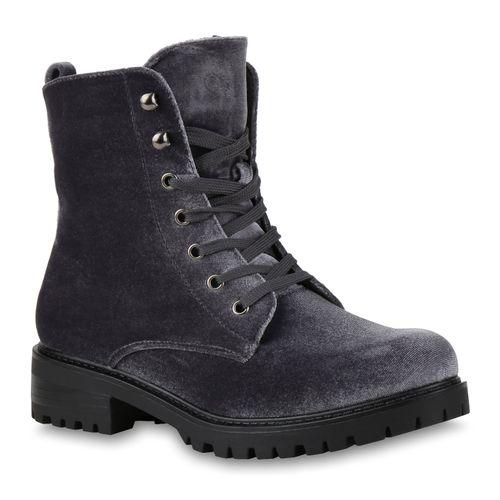 Damen Stiefeletten Worker Boots - Grau