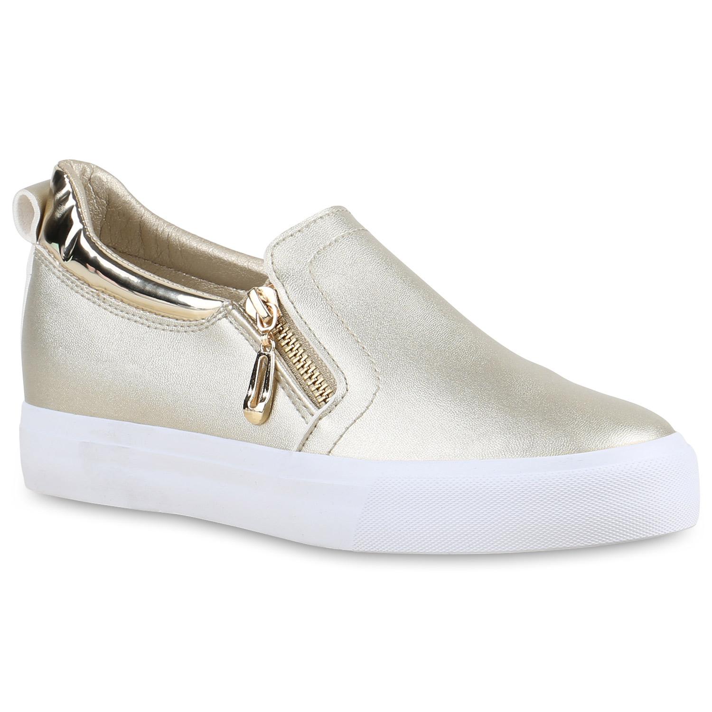 Damen Sneaker Wedges - Gold