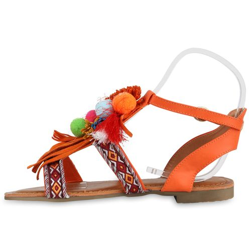 Damen Sandalen Riemchensandalen - Orange