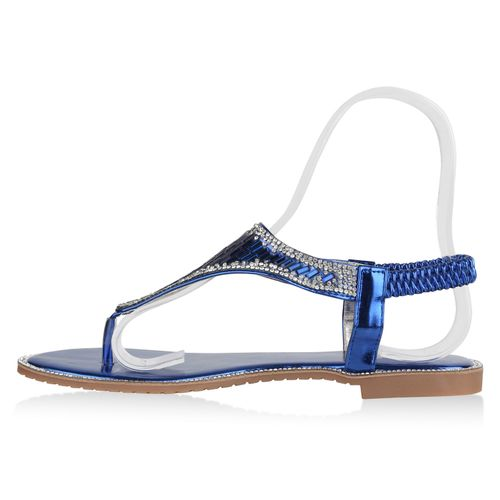 Damen Sandalen Zehentrenner - Blau Metallic