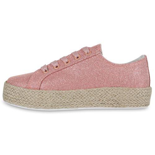 Damen Plateau-Sneaker - Rose Gold