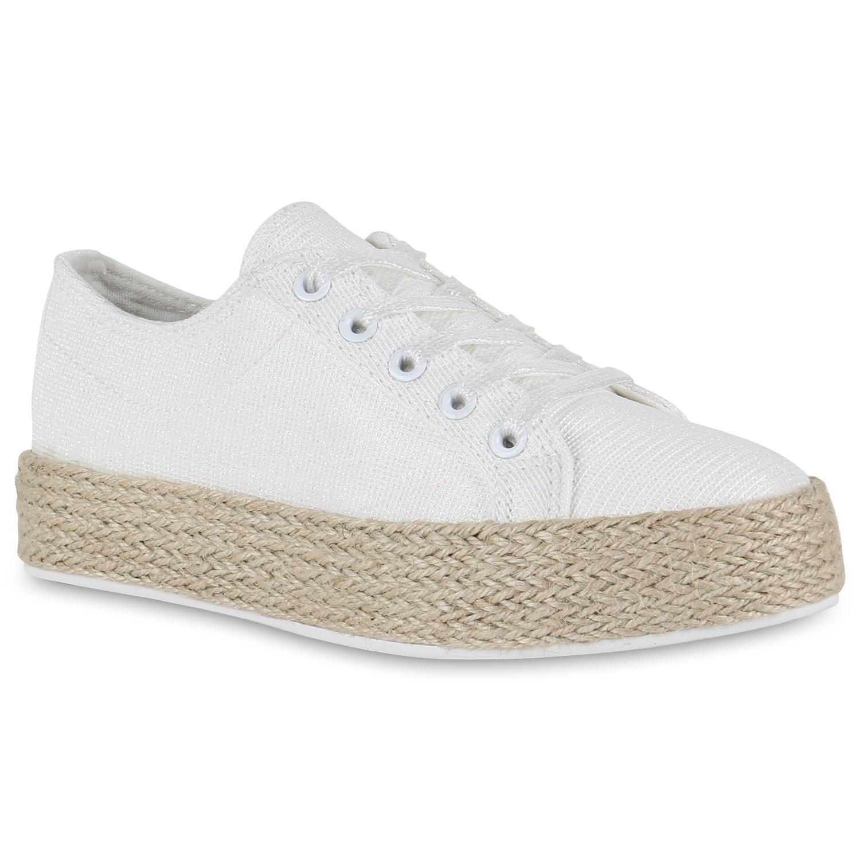 Damen Plateau-Sneaker - Weiß