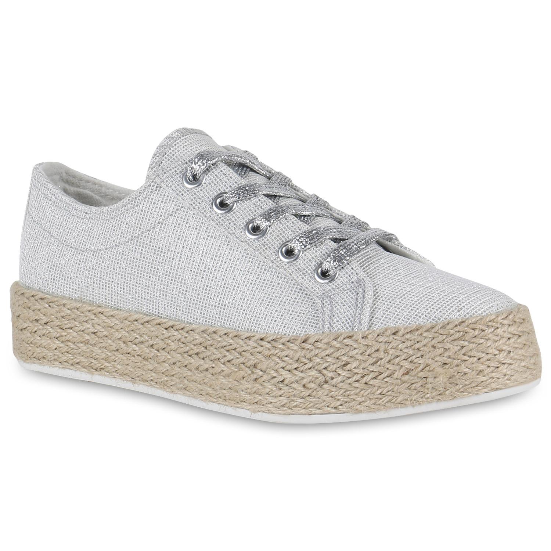 Damen Plateau-Sneaker - Silber