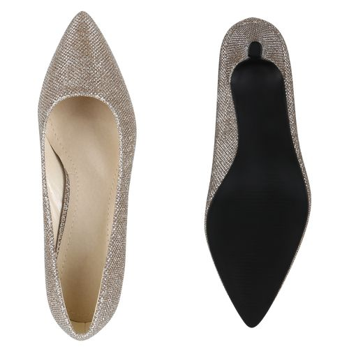 Damen Spitze Pumps - Bronze