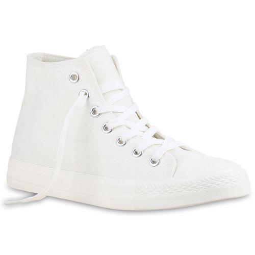 Damen Sneaker high - Weiß Silber