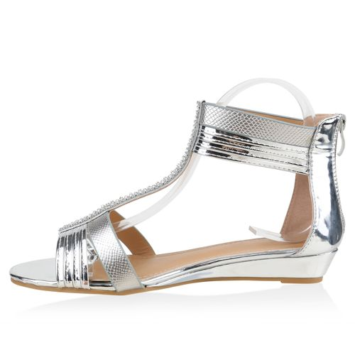 Damen Sandaletten Keilsandaletten - Silber