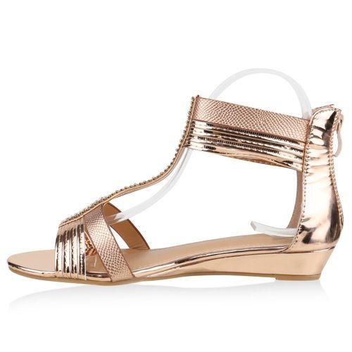 Damen Sandaletten Keilsandaletten - Rose Gold