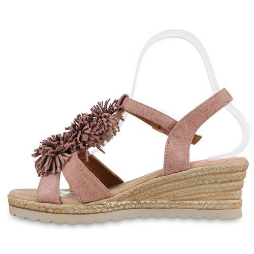 Damen Sandaletten Keilsandaletten - Altrosa