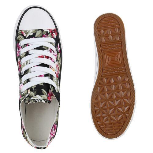 Damen Sneaker low - Schwarz Blumen