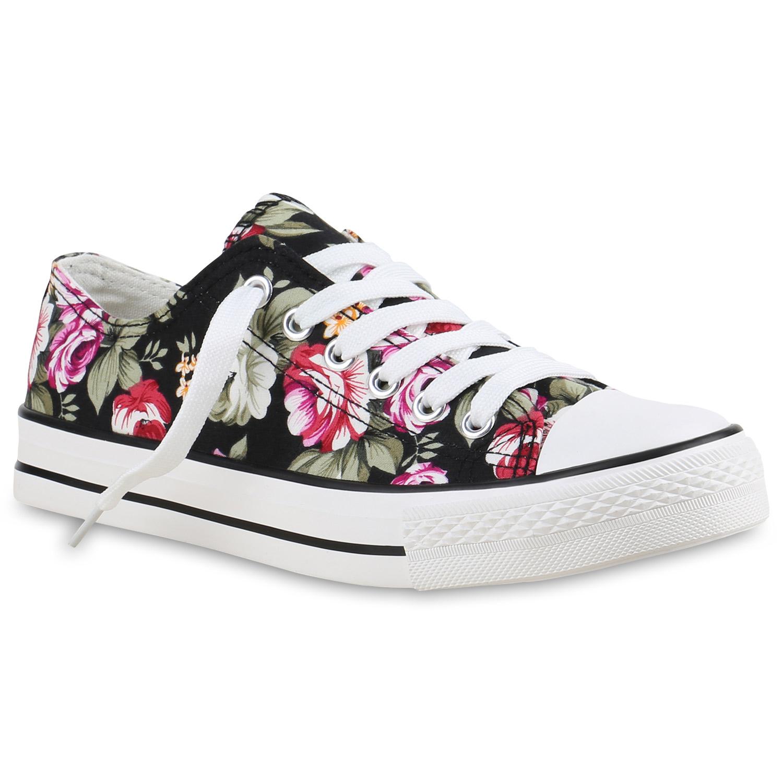 Sneakers für Frauen - Damen Sneaker low Schwarz Blumen › stiefelpardies.de  - Onlineshop Stiefelparadies