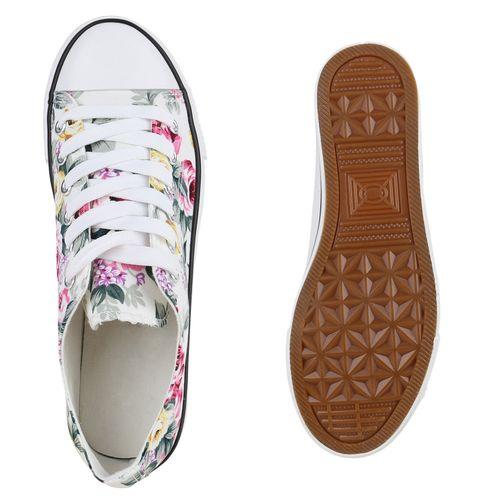 Damen Sneaker low - Weiß Blumen