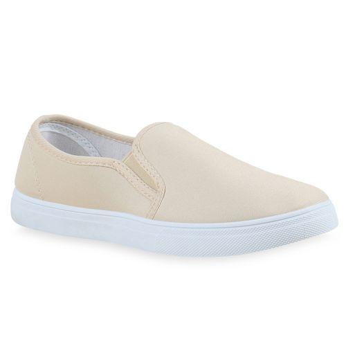 Damen Sneaker Slip Ons - Creme