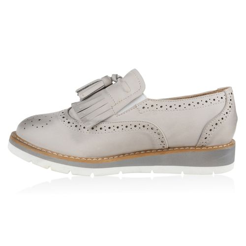 Damen Slippers Loafers - Hellgrau
