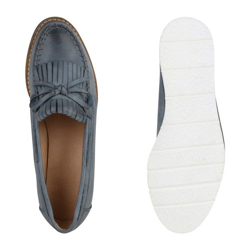 Damen Slippers Mokassins - Dunkelblau