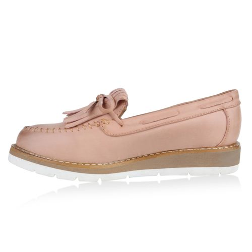 Damen Slippers Mokassins - Rosa