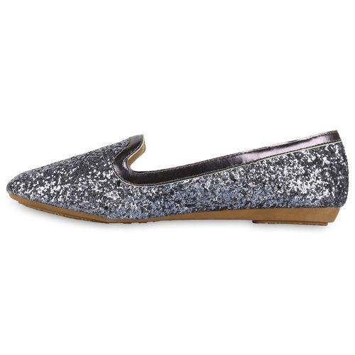 Damen Slippers Loafers - Grau Metallic