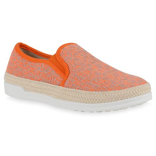 Damen Slippers Slip Ons - Neon Orange