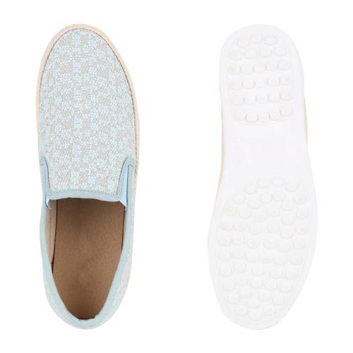 Damen Slippers Slip Ons - Hellblau
