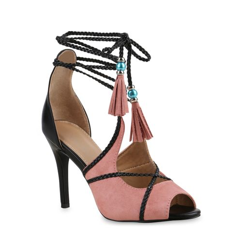 Rosa Damen Sandaletten Damen Heels Sandaletten High xgqB8ZF