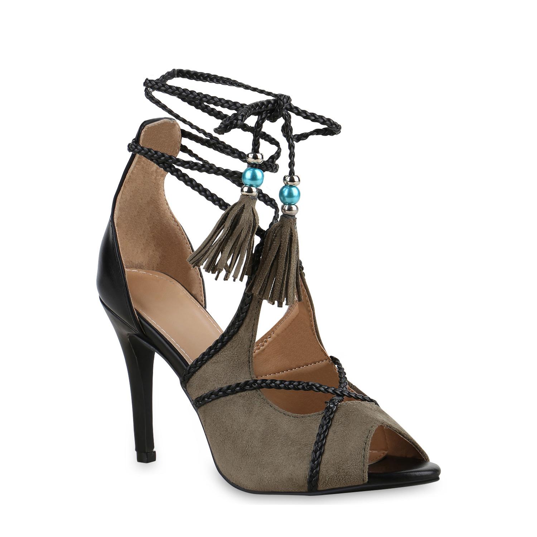 Highheels für Frauen - Damen Sandaletten High Heels Dunkelgrün  - Onlineshop Stiefelparadies
