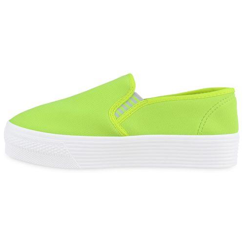 Damen Sneaker Slip Ons - Neon Grün