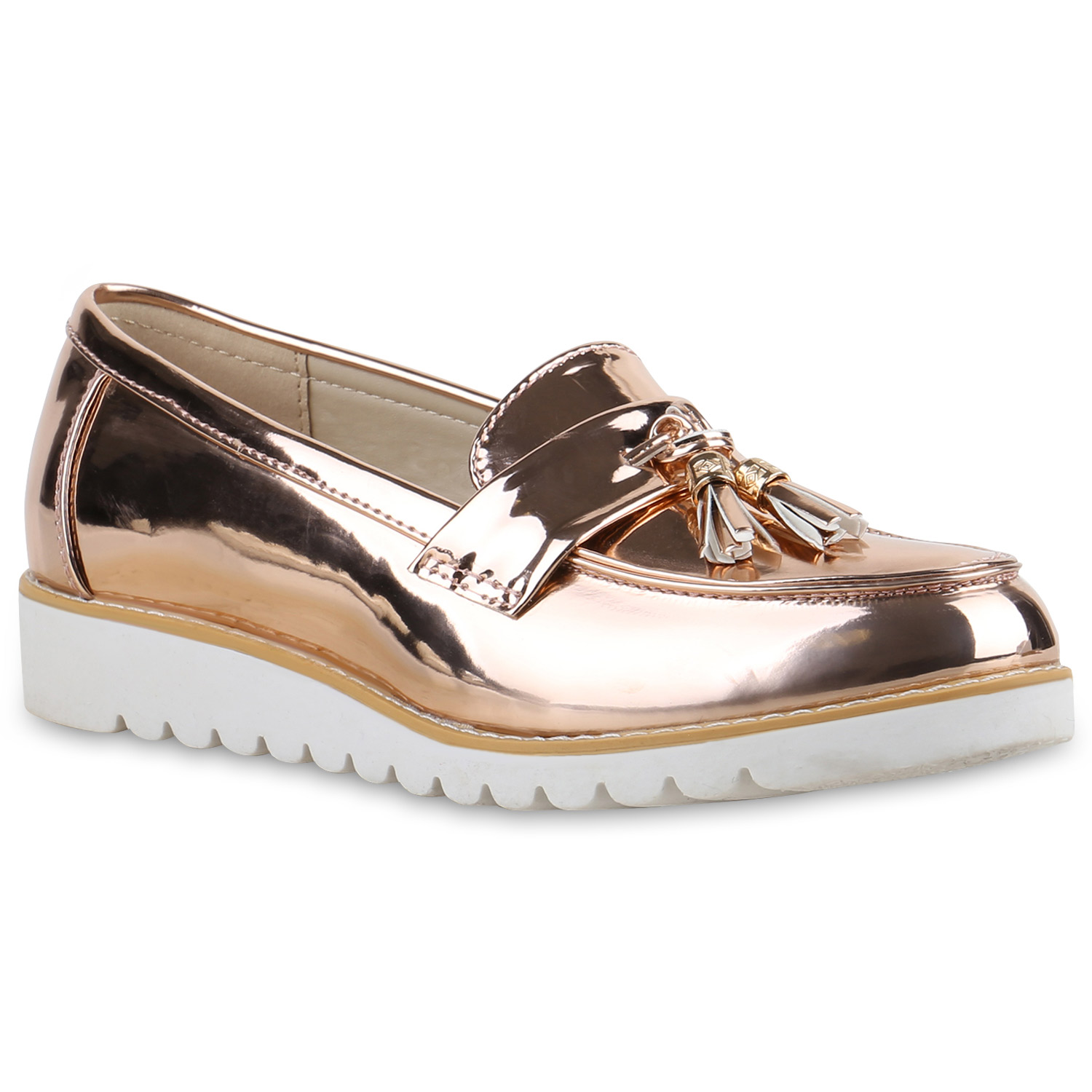 Damen Slippers Loafers - Rose Gold