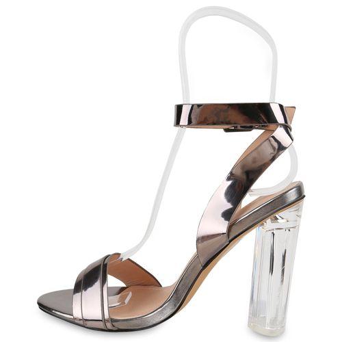 Damen Sandaletten Riemchensandaletten - Grau Metallic