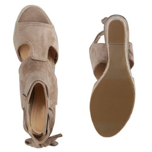 Damen Sandaletten Keilsandaletten - Creme