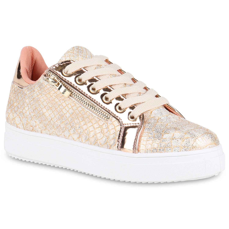 Damen Plateau Sneaker - Rose Gold