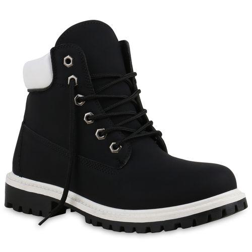 separation shoes 5d61b 24b16 Damen Stiefeletten Worker Boots - Schwarz Weiß