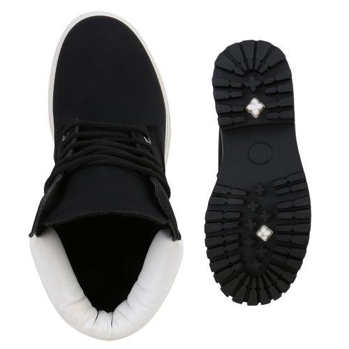 Damen Stiefeletten Worker Boots - Schwarz Weiß