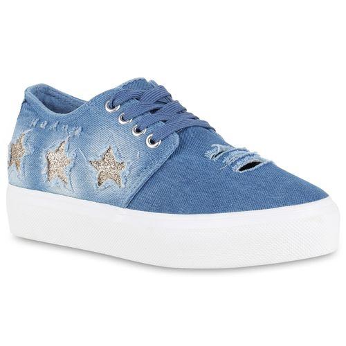 Damen Plateau Sneaker - Hellblau