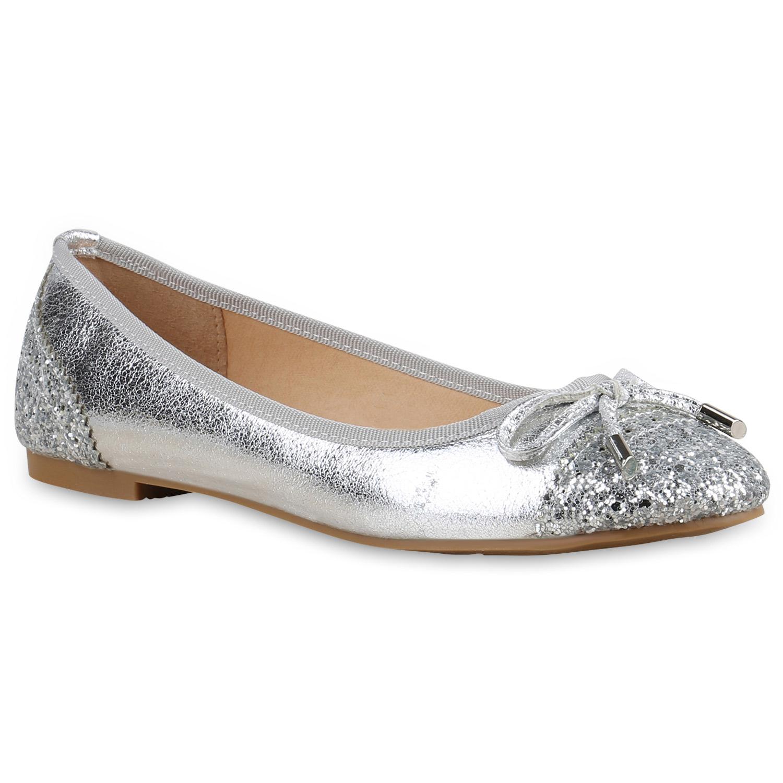 Ballerinas für Frauen - Damen Ballerinas Klassische Ballerinas Silber  - Onlineshop Stiefelparadies