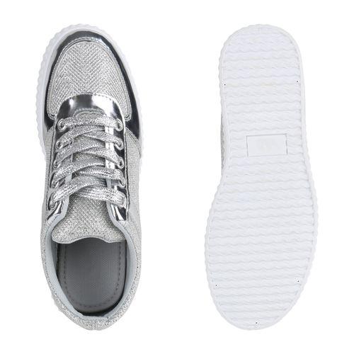 Silber Sneaker Plateau Sneaker Plateau Sneaker Damen Plateau Silber Damen Silber Damen xUIYqq
