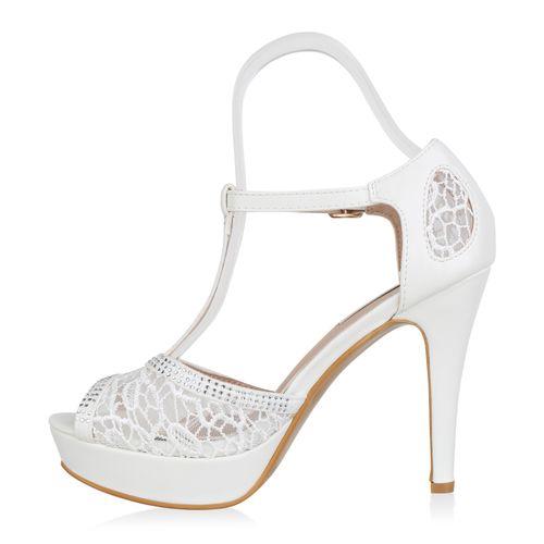 Damen Plateau Sandaletten - Weiß