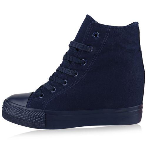 Damen Sneaker Wedges - Dunkelblau