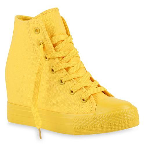 Damen Sneaker Wedges - Gelb