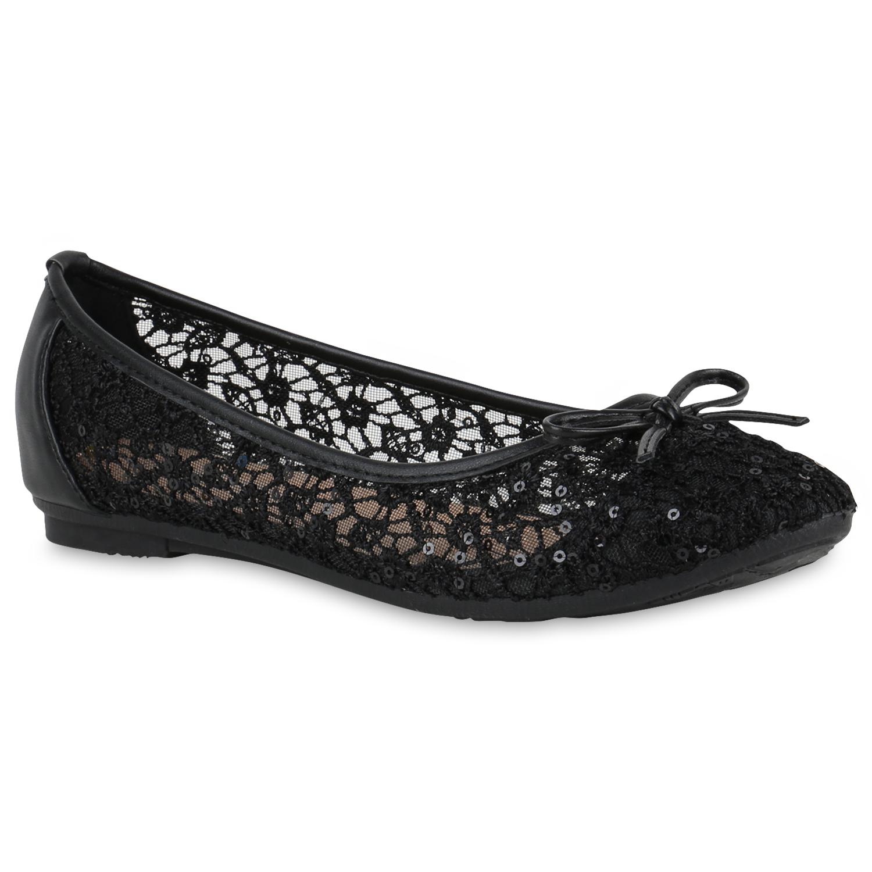 Feminine Damen Ballerinas Spitze Pailletten Flats Slipper 816771 Schuhe