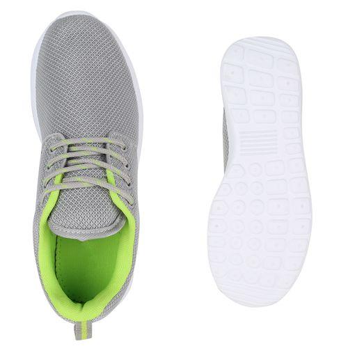 Damen Sportschuhe Laufschuhe - Hellgrau Neongrün