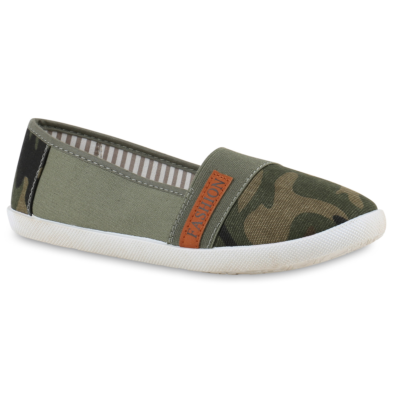 Damen Slippers Slip Ons - Camouflage