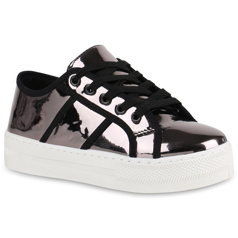 Damen Plateau Sneaker - Grau Metallic
