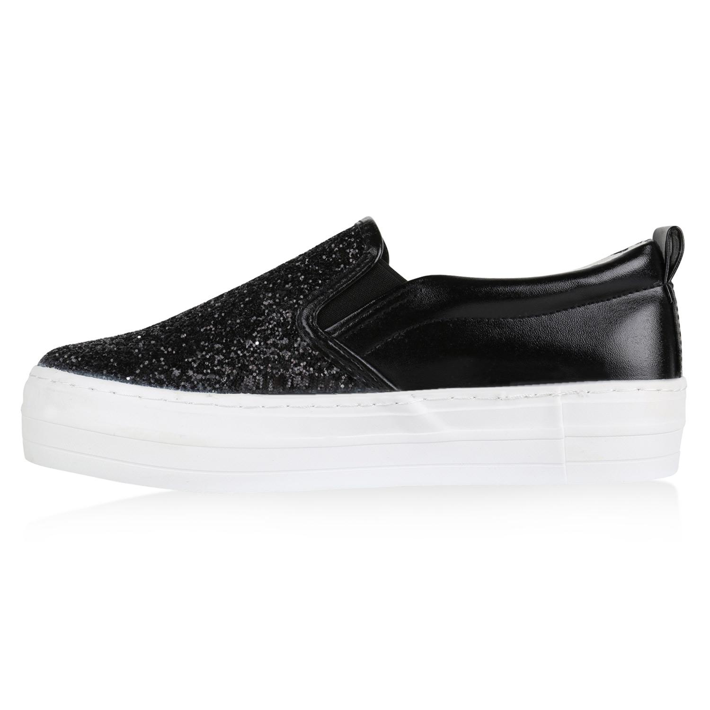 45251f6cc8f9a1 Details zu Damen Plateau Sneaker Slip-ons Glitzer Metallic Sneakers Slipper  816860 Top